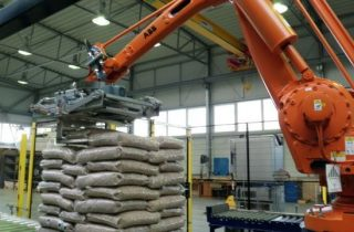 Palletizer for bags with wood pellets