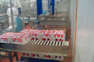 Palletiser for trays with cups