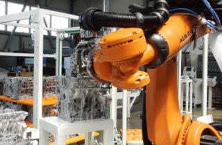 3. Robotická paletizace, dopravníky a lineární manipulátor